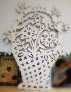 Laser Cut Wooden Flower Basket Home Decoration Free Vector
