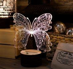 Laser Cut Butterfly 3D Acrylic Light Lamp Free Vector