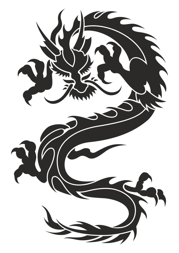 9770a7650af45 Chinese Dragon Silhouette Tattoo Tribal Vector Free Vector cdr ...