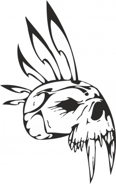 Epic Tribal Skull Vector CDR File