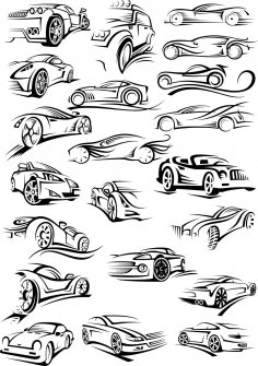 Cars Silhouette Stickers CDR File