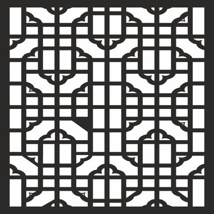 Geometric Square Jali Design CDR File