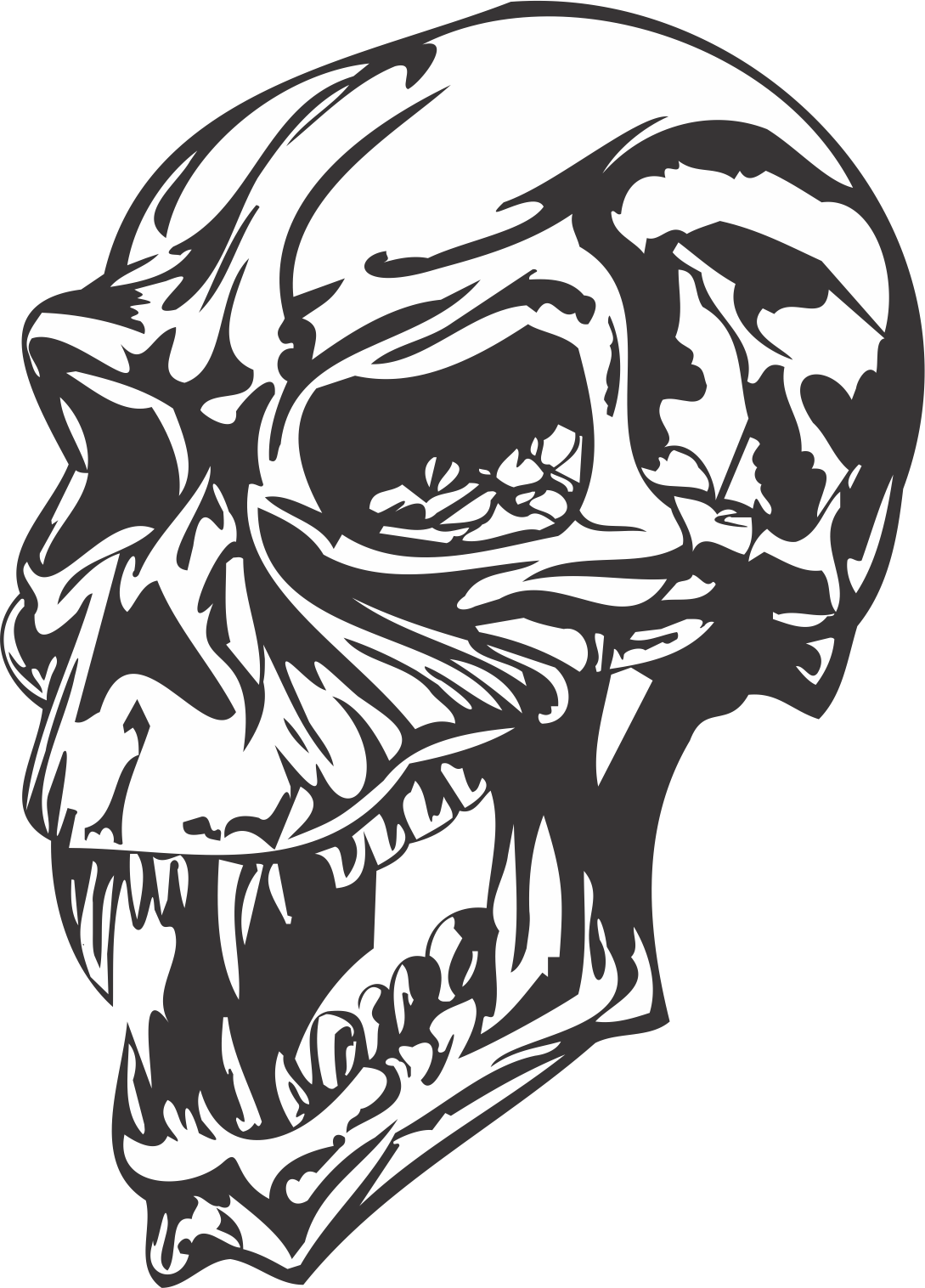 Angry Skull Dxf File Free Download 3axis Co