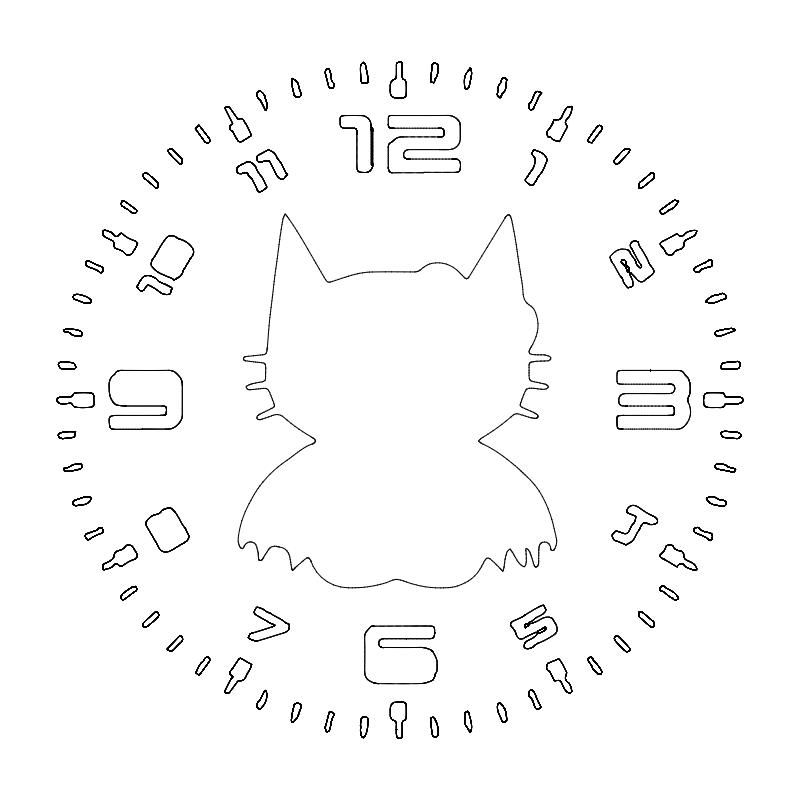 Clock Hello Bat dxf File