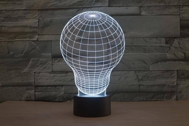 Light Bulb 3d Led Illusion Night Light Lamp Free Vector Cdr Download 3axis Co