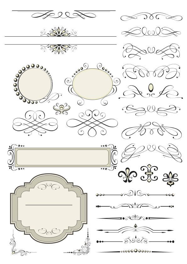 Vintage Set Decor Elements Free Vector cdr Download - 3axis co