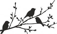 Birds on Branch silhouette stencil dxf File