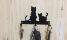 Laser Cut Cats Key Hanger Hooks Wall Mounted Storage Holder DXF File