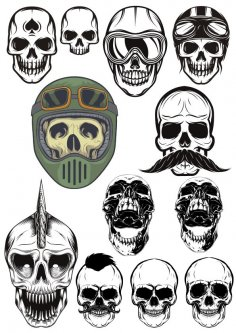 Evil Skull Vector Set CDR File
