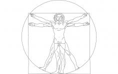 Davinci Vitruvian Lineart dxf File