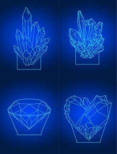Laser Cut Diamond 3D Acrylic Lamps Template Free Vector