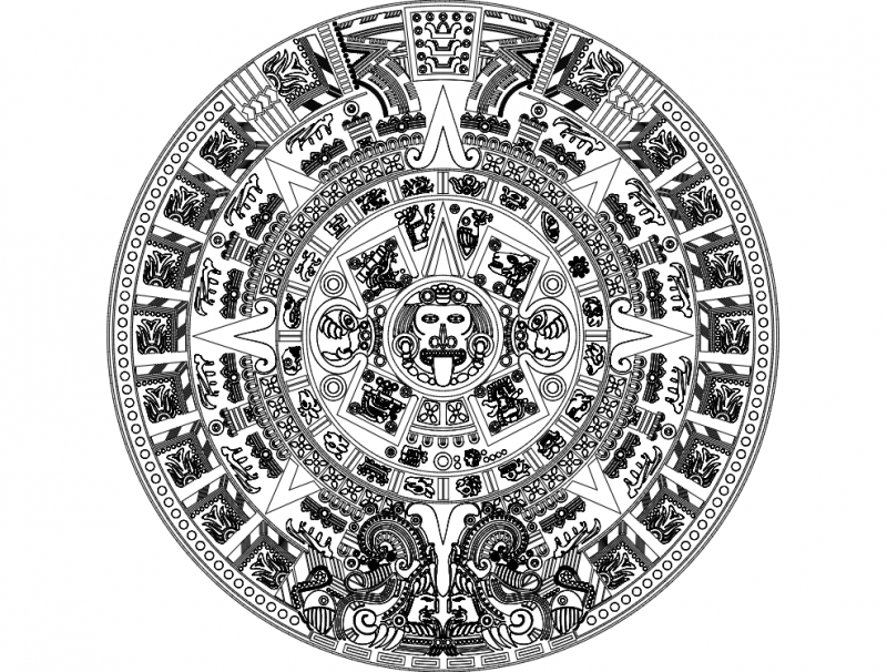 Aztec Sun Stone Vectors Dxf File Free Download 3axis Co
