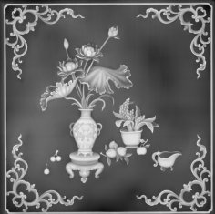 Floral Design Grayscale Relief for CNC BMP File