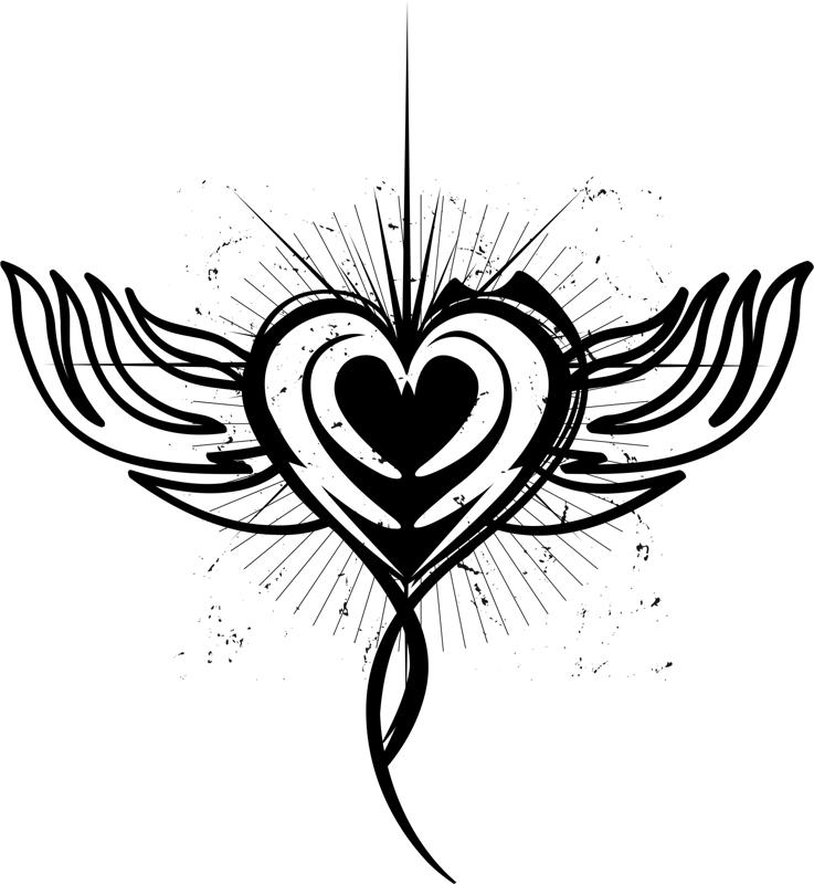 Tattoo Designs Vector Free Download: Winged Heart Tattoo Design Illustration (.ai) Vector File