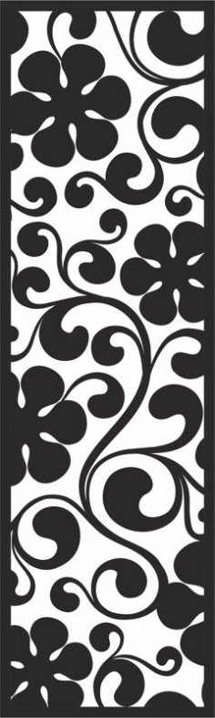 Curl with big Black Flowers Pattern CDR File