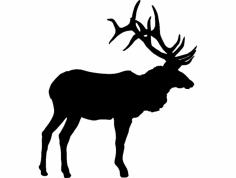 Large Bull Elk Olen dxf File