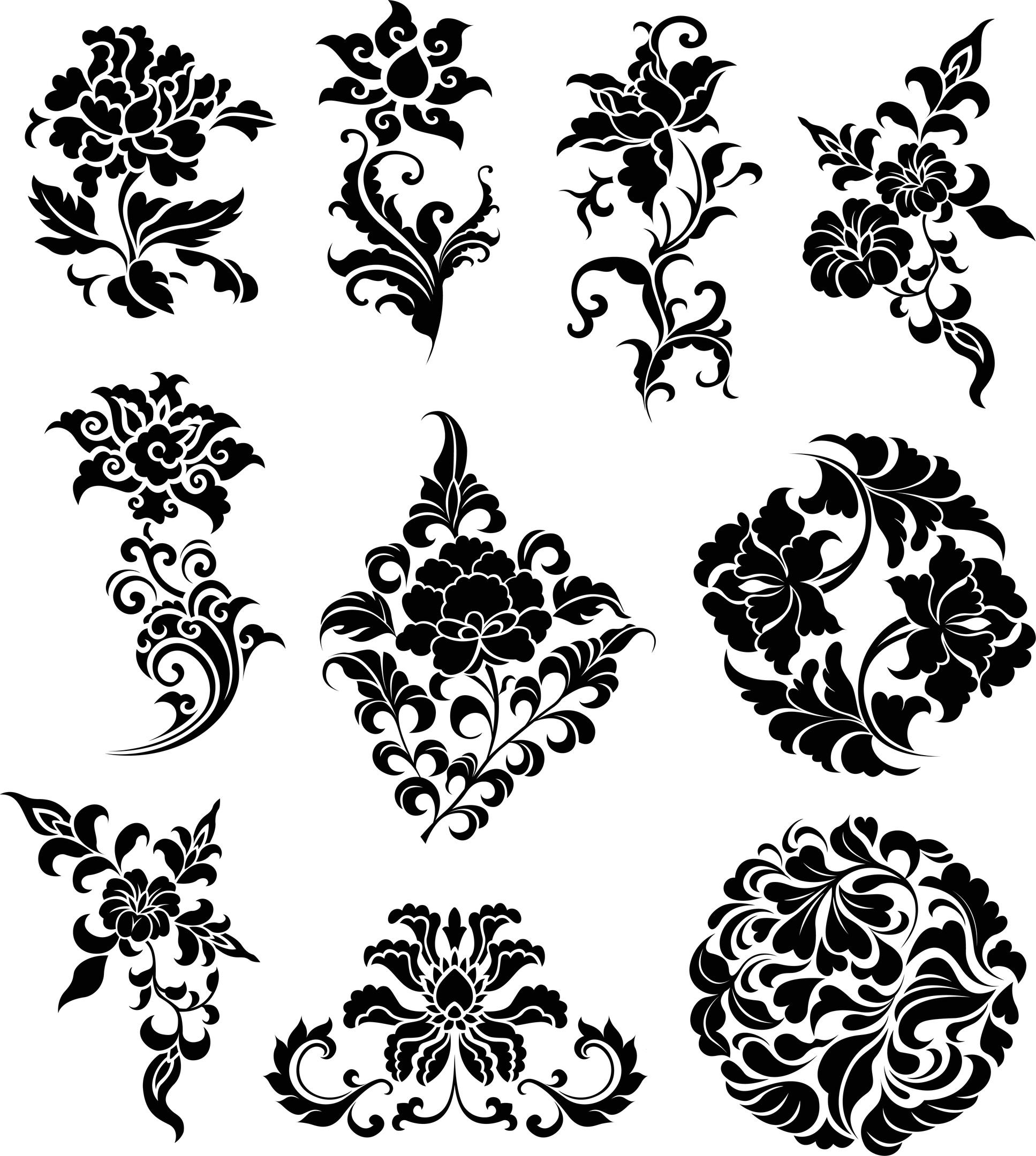 Vintage Ornamental Design Elements: Flowers Ornaments Illustration (.ai) Vector File Free