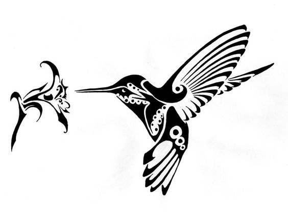 hummingbird and flower vector art dxf file free download