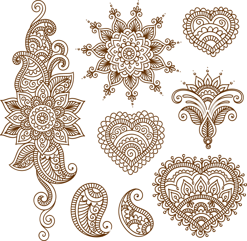 Henna Tattoo Flower Template Mehndi Style Free Vector Cdr Download