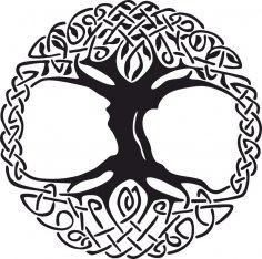 Celtic Tree of Life Vinyl Window Sticker vector CDR File