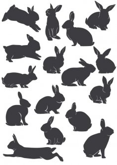 Rabbit Silhouette Vectors CDR File