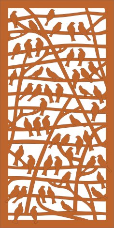 Laser Cut Partition With Birds Pattern Free Vector