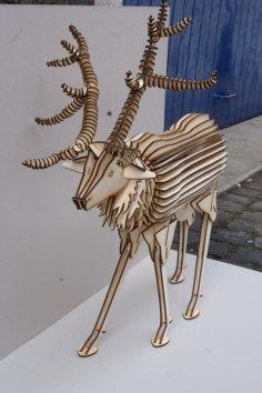 Laser Cut Deer 3D Wood Model DXF File