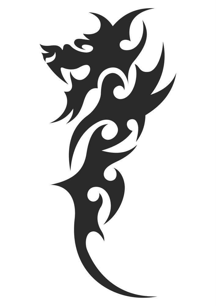 Dragon tribal tattoo vector