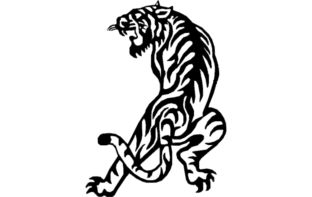 Delightful Tiger Dxf File