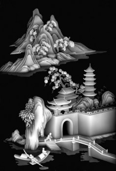 Traditional Chinese Grayscale Embossed Artwork BMP File