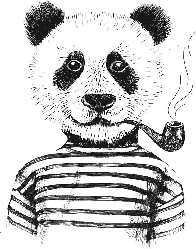 Smoking Panda Vector Art Free Vector Cdr Download 3axis Co