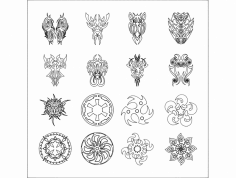 Tattoo Vector Set 3 dxf File