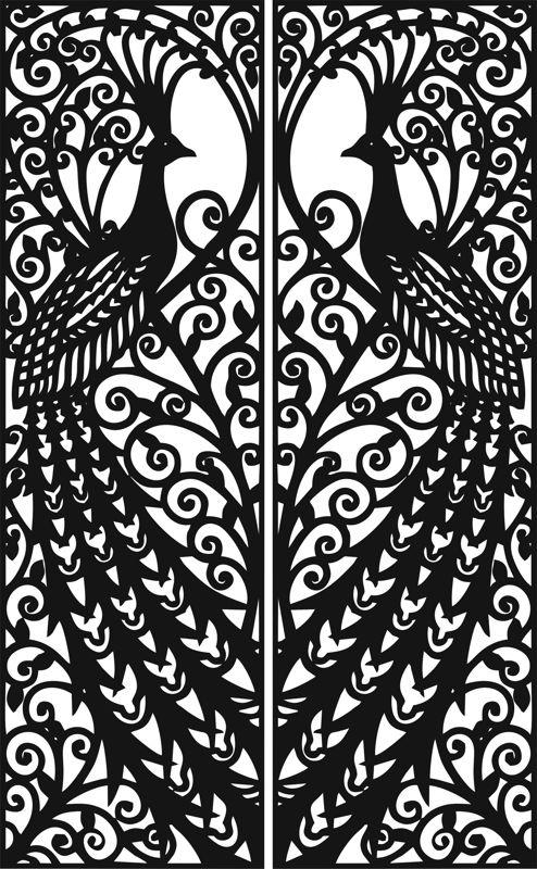 Laser Cut Door Design Peacock Free Vector Cdr Download