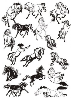 Horse Stickers Vector Art Collection CDR File