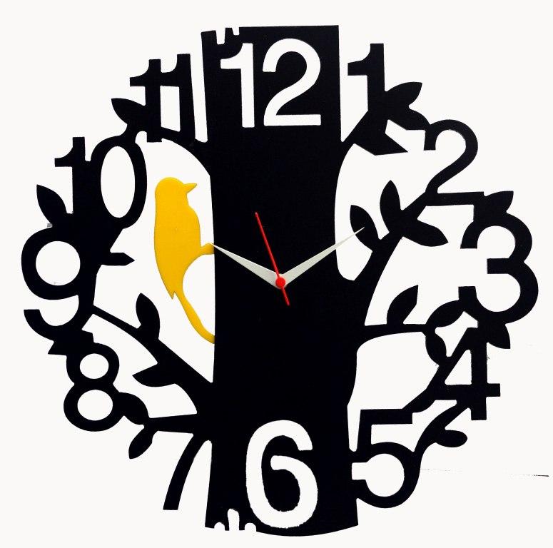 Tree Bird Black Wood Wall Clock Vector Free Vector Cdr