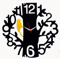 Tree Bird Black Wood Wall Clock Vector CDR File