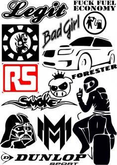 Car Sticker Vector CDR File