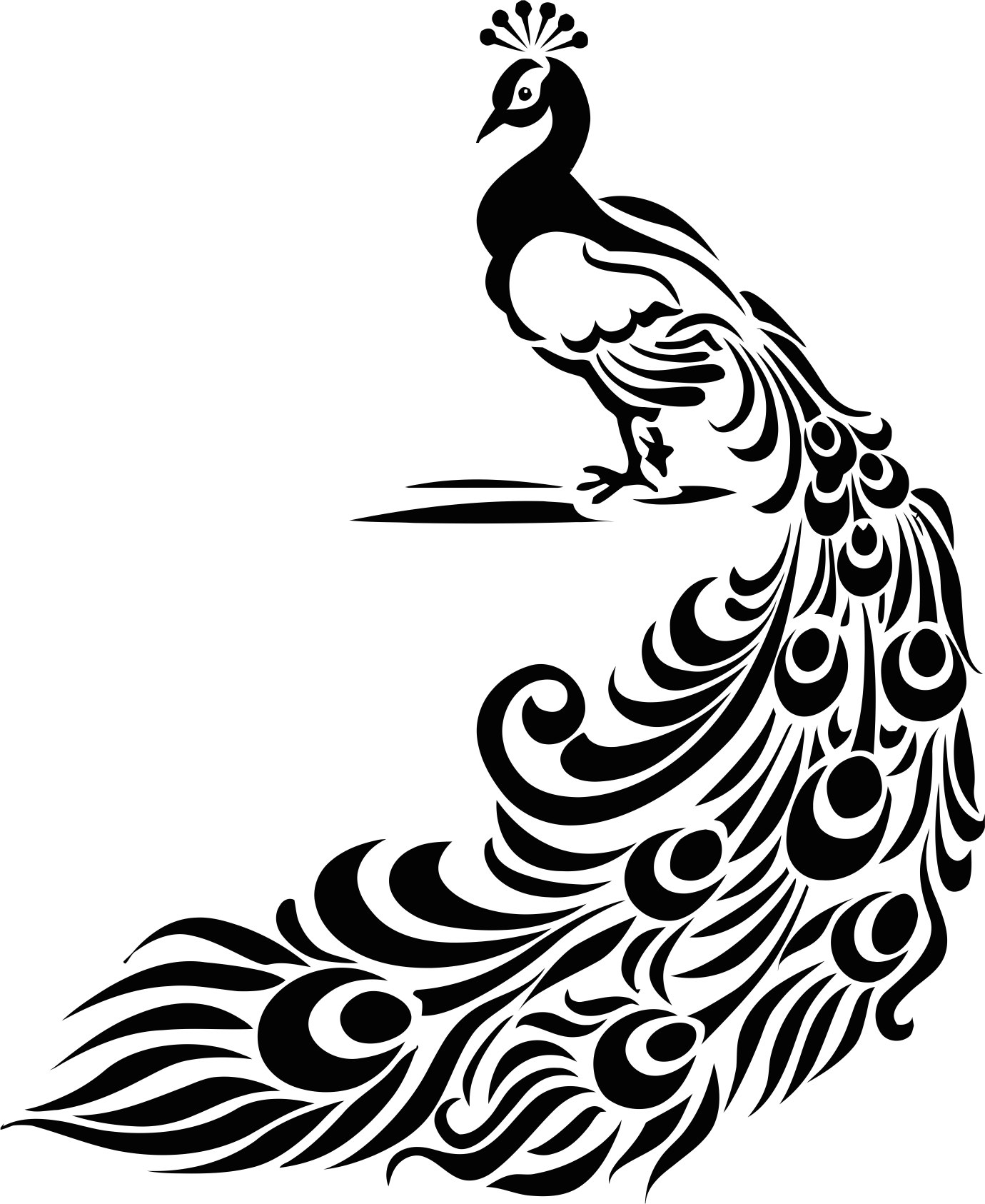 Vintage Peacock Feather Stencil Or Vinyl Decal CDR File