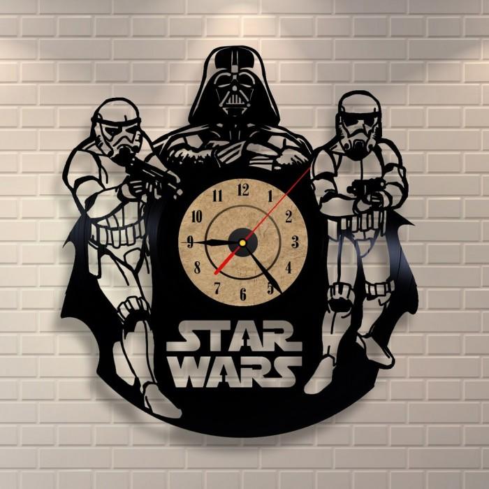 Design vinyl record wall clock black gloss sticker Darth Vader Army Star W