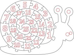 Wooden Number Snail Puzzle CDR File