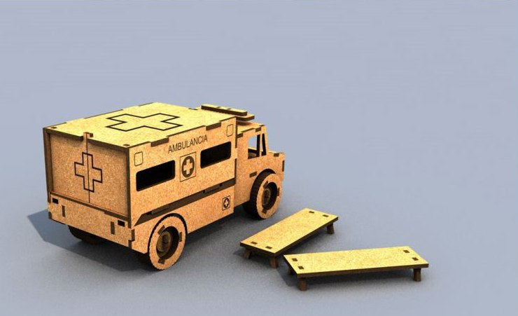 3d Puzzle Ambulance CDR File
