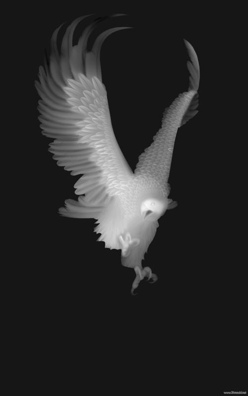 Eagle Grayscale Image For Cnc 3d Routing Bitmap Bmp