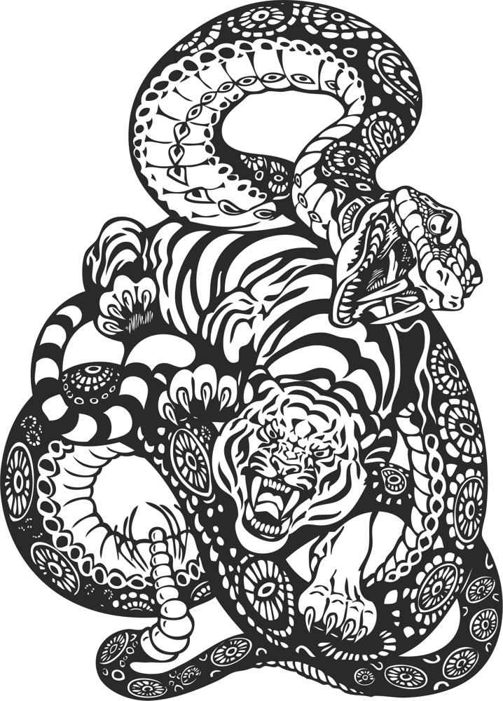 snake and tiger fight vector art free vector cdr download