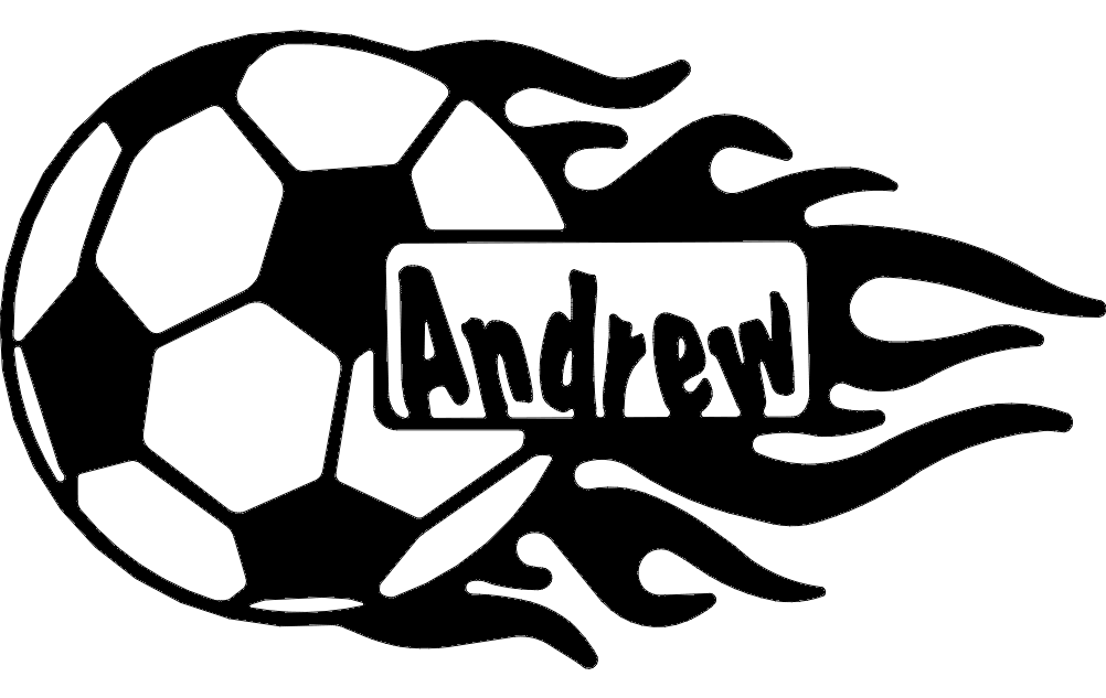 Soccer Ball With Flames And Name Dxf File Free Download