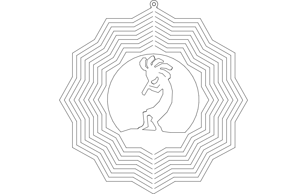 Kokopelli Wind Spinner dxf File