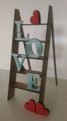 Love Step Ladder Laser Cut Free Vector
