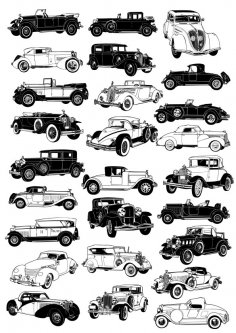 Vintage car vectors CDR File
