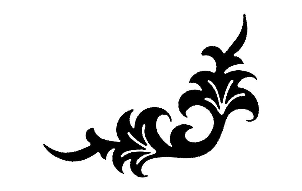 Corner Flower Design dxf File