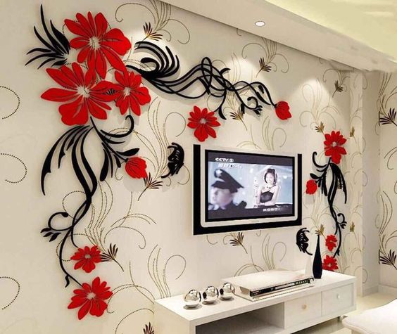 butterfly tv wall acrylic 3d relief wall sticker free vector cdr