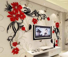 Butterfly tv wall acrylic 3d relief wall sticker CDR File